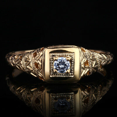 Sterling Silver Vintage Art Deco Cubic Zirconia Antique Engagement Wedding Ring