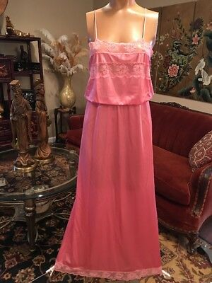 Vintage Flair Dark Pink Nylon Nightgown Lace Trim  Small Union Made ILGWU