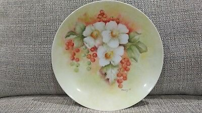 Antique Hand Painted Porcelain Plate, Signed Nancy H. Flowers, berries, & leaves