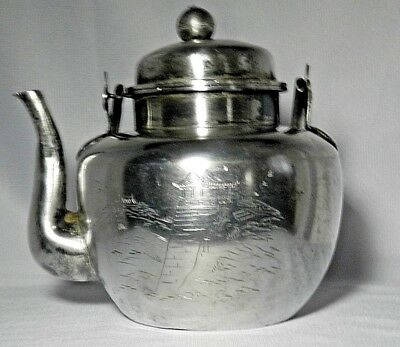 "Japanese Engraved Scene Sterling Silver Tea Pot, Jungin ""Pure Silver"" scrap 398g"