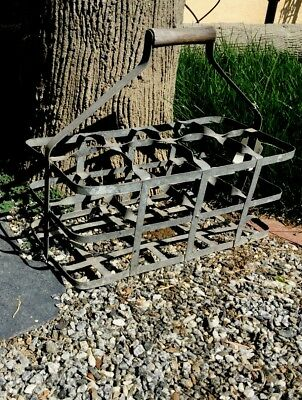 Antique Vintage Country French Wine / Bottle Carrier Caddy Zinc Cottage Chic