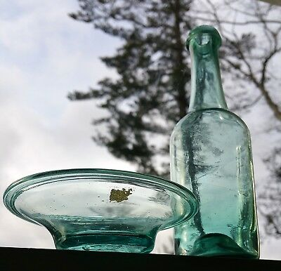 Early American glass pan and similar glass bottle!