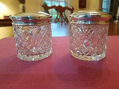 Antique English Cut Glass Hair Receiver & Powder Jar Sterling Silver Tops
