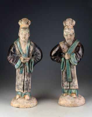 *SC*A PAIR OF CHINESE POTTERY COURT LADY FIGURES, Ming Dynasty!
