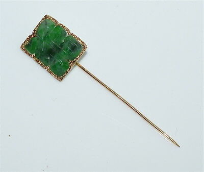 "Antique Chinese 14 kt Gold and Carved Natural Jadeite Stickpin Marked ""585"""