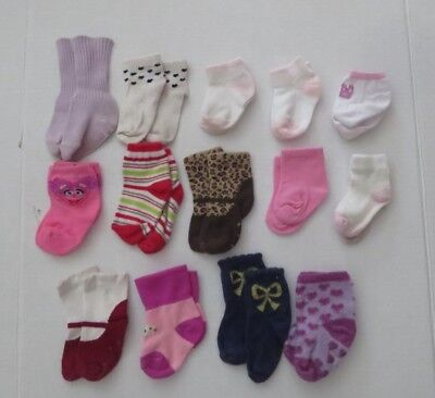 Baby Girls large 14 Pair Socks Lot Size 3-12 Months