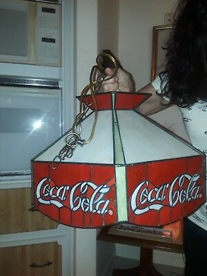 Coke Cola Tiffany Like Lamp Swag Glass New In Box