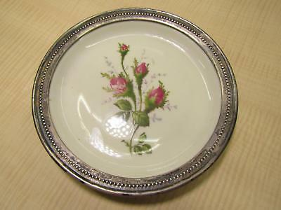 "Vintage Rosenthal Germany Sterling Silver Rim Ceramic Rose Flower 5 3/4"" Plate"
