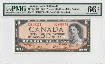 1954 BANK OF CANADA QEII $50 **Beattie & Rasminsky** (( PMG 66 EPQ ))