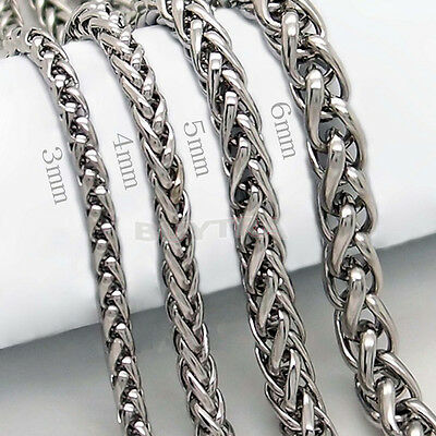 "3/4/5/6MM 20"" MEN Silver Stainless Steel Wheat Braided Chain Necklace Jewelry"