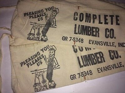 2 Vintage Canvas Complete Lumber Advertising Nail Pouch Apron Evansville IN