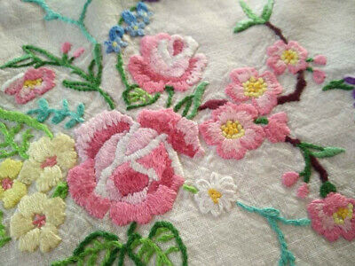 Glorious Mixed Flowers & Roses   Vintage Hand Embroidered Tea Cosy/Cover