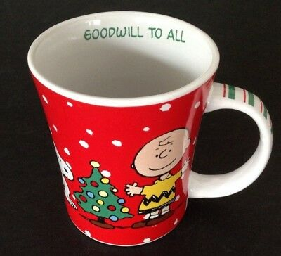 Gibson Xmas Peanuts Coffee Cup Mug Goodwill to All Snoopy Charlie Brown 15 OZ