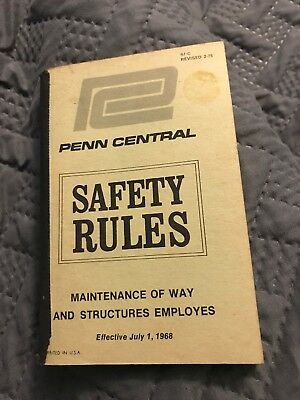 Railroad Rule Book Penn Central Safety Rules Mow & Structures Employes 1968