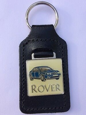 Rover 75 Metal Fobbed Leather Backed Keyring In Blue Classic Car