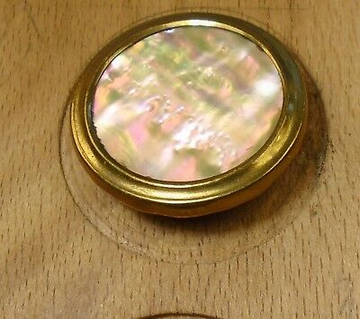 """NICE 1 1/16"""" High Luster Pearl Set in Metal Antique Button 756:17"""