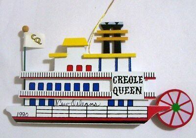 Vintage Wooden New Orleans Creole Queen Paddle Boat Ornament