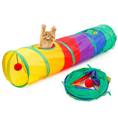 Rainbow Pet Cat Collapsible 2 Holes Tunnel Toy Playing Tube with Ball Latest