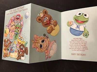 Vtg 1985 MUPPET BABIES Punch Out Finger Puppets Birthday Card
