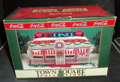 Coca-Cola 1992 Christmas Town Square Collection Lighted Coke Tick Tock Diner