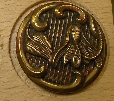 """NICE 15/16"""" Flower Lilly Metal Antique Button 756:32"""