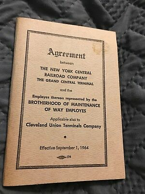 New York Central Railroad Maintenance Of Way Agreement Book Sept 1964 Train