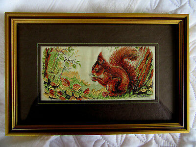 Cash's Vintage Silk Woven Picture From The Collector Series 'Red Squirrel