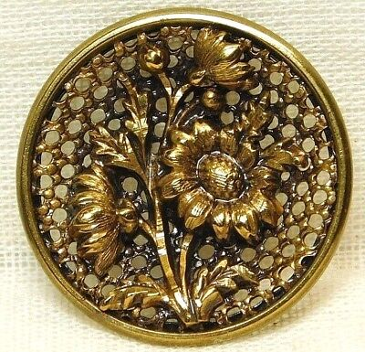 Antique VINTAGE Button Brass Victorian Daisy Flowers Homeycomb SCREEN Back 78A1