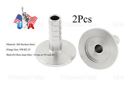 2X SS304 KF25 Flange to OD 16mm or 5/8 inch Rubber Hose Barb Adapter F Vacuum US