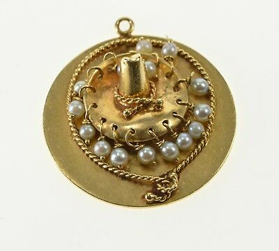 14K Ornate Seed Pearl Dangle Southwestern Hat Charm/Pendant Yellow Gold *55
