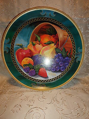 Serving Tray Knott's Berry Farm Round Tin Fruits Wood Bucket Jewel Tone Colors