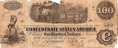 $100 Confederate States Of America Richmond Sept.11 1862. Note# 42833