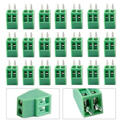 Green 50Pcs 2 Pin 2 Way 2.54mm 0.1'' Pitch PCB Screw Terminal Block Connector