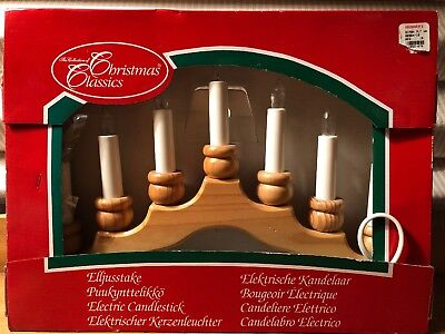 Christmas 7 Light Candle Advent Candelabra Wood Frame Electric Swedish Design