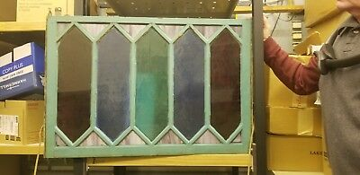 Vintage antique stained glass window. 5 pane
