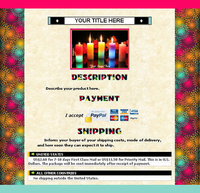 AUCTION TEMPLATE Colorful Artsy Spirals Design Border with FREE Shipping