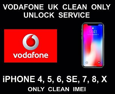 UK VODAFONE IPHONE 5s 6 6s SE 7 8 PLUS FACTORY UNLOCK SERVICE CLEAN 100%