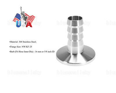 USA Ship 16 mm OD Barbed Hose X KF25 Flange Stainless Steel 304 Vacuum Adapter