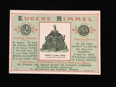 1876 Trade Card Eugene Rimmel Perfumer To The Princess Of Wales