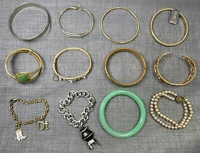Lot 12 pieces Vintage Gold Silver Plated Jewelry Bracelets Real Jade & Faux Gems
