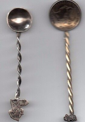 Lot Of 2 Silver Spoons Queen Victoria  One Is An 1892 25 Cents Coin.