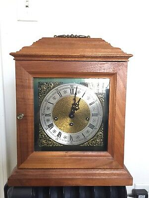 """Large VTG Franz Hermle 3W KEY WOUND CHIME MANTLE CLOCK Working Conditions 14"""""""