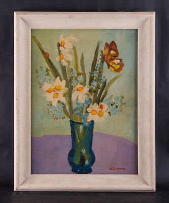 """Early 20th Century Impressionist Oil Painting """"Flowers In Vase"""""""