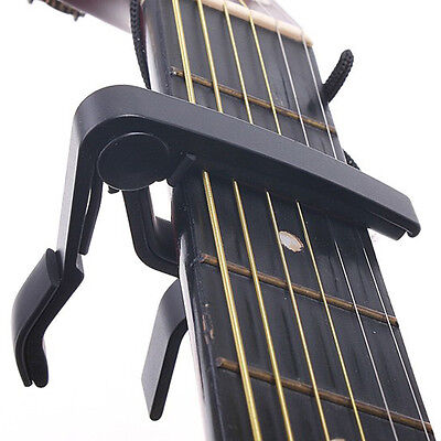 1*Black Quick Change Clamp Key Capo For Classic Guitar Acoustic Electric Durable