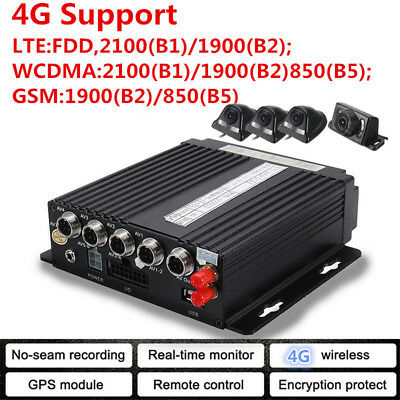 Car Vehicle 4CH 4G GPS Panoramic DVR Security HD Video Recorder SD+4 Cameras Kit