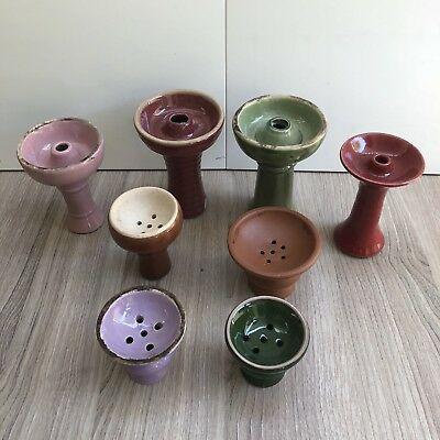 Lot of 8 Hookah Bowls Assorted Colors and Sizes