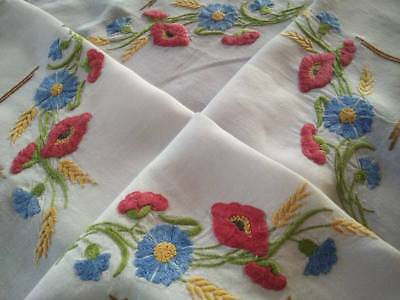 Wild Flowers- Poppy/Cornflowers+  Vintage Hand Embroidered Tablecloth