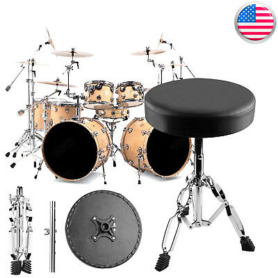 Adjustable Drum Throne Stool Tripod Seat Drumming Chair Stand Adjust Padded USA