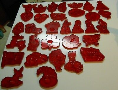 Vintage Lot 31 Clear Red Cookie Cutters With Handles Plastic All Different HRM