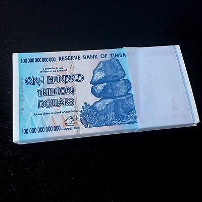 1 x Zimbabwe 100  Trillion Dollars, Uncirculated ,100 Trillion Series AA/2008